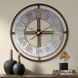 Industry 33 Wide Steel And Gold Open Face Wall Clock 64k84
