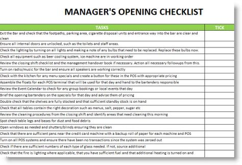 checklist for restaurant - Google Search | Pub/ bar & grill ...