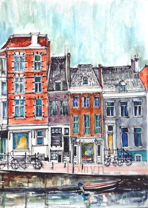 Amsterdam Maisons Hollandais Peinture Des Pays Bas Aquarelle D