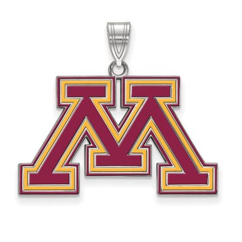 University of Minnesota Large Enamel Pendant in Sterling Silver by LogoArt.,  Jewelry Type: Pendants & Charms, Material: Primary: Sterling Silver, Material: Primary - Color: White, Material: Primary - Purity: 925, Length of Item: 27 mm, Width of Item: 30 mm, Relative Size: Large, Finish: Polished, Plating: Rhodium, Charm/Element Length: 19 mm, Charm/Element Width: 30 mm, Manufacturing Process: Laser Cut, Bail Width: 4 mm, Bail Length: 8 mm