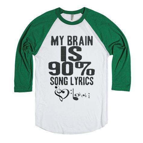 90% Song Lyrics - Music Shirts