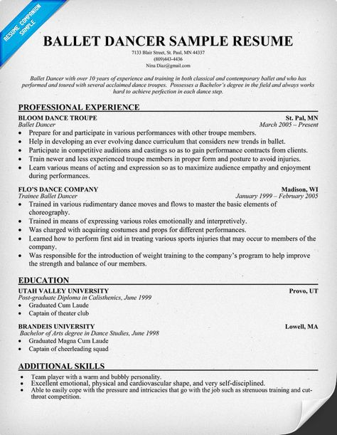 Examples Of Dance Resumes. Best 25+ Acting Resume Template Ideas