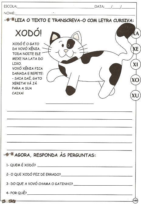 Atividades De Alfabetizacao Com A Letra X Para Imprimir E Colorir