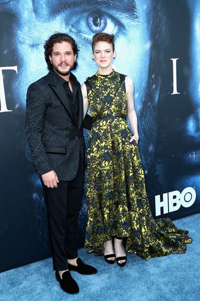 Actors Kit Harington and Rose Leslie attend the premiere of HBO's 'Game of Thrones.'