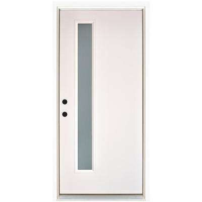 36 In X 80 In Transclear Smooth White Right Hand Inswing Narrow 1 Lite Frost Fiberglass Prehung Front Brick Exterior House Front Door Fiberglass Entry Doors