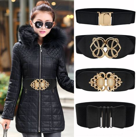 20% off] New black waistband lady gold big opal buckle wide