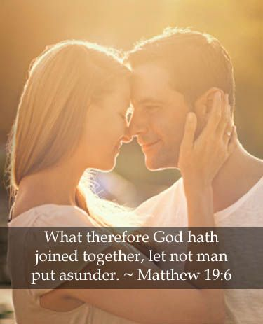 What therefore God hath joined together, let not man put ASUNDER. ~ Matthew 19:6  The right way to end a wedding. ;) Kor and I always root for the minister to say asunder!