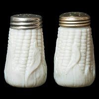 Antique EAPG Corn with Husk Salt and Pepper Shakers, milk glass