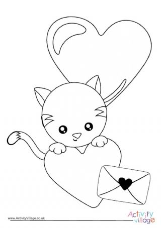 Valentine S Day Kitten Colouring Page Valentine Coloring Pages Valentine Coloring Coloring Pages