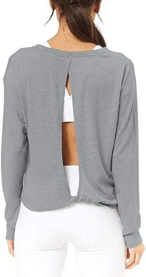 Long Sleeve Active Top Running Long Sleeve Women Activewear Yoga Shirt Thumbhole Sleeve Backless Yoga Shirt Open Back Long Sleeve