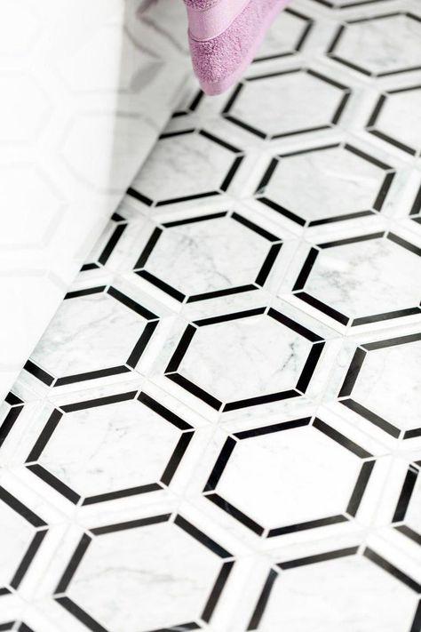 Daltile M7536HEXMS1L Black / White Blend Marble Collection - 6