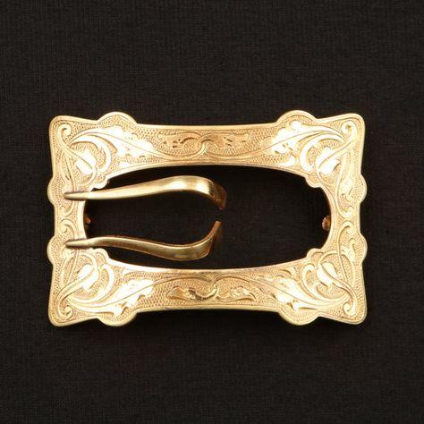 Sash Buckle Pin Antique Edwardian Brass Etched Renaissance