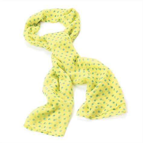 Sciarpina gialla fluo a pois verdi. Yellow polka dot scarf. Euro $9.90