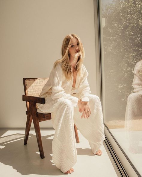 Rosie Huntington Whiteley White Oversized Jumpsuit All White Spring Summer 2020 on SASSY DAILY