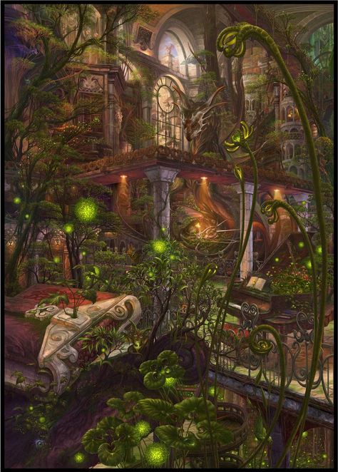 arch book bookshelf grand_piano highres indoors instrument library lights mansion no_humans original painting piano pillar plant scenery sheet_music spire stairs statue ucchiey vines window windowboxed