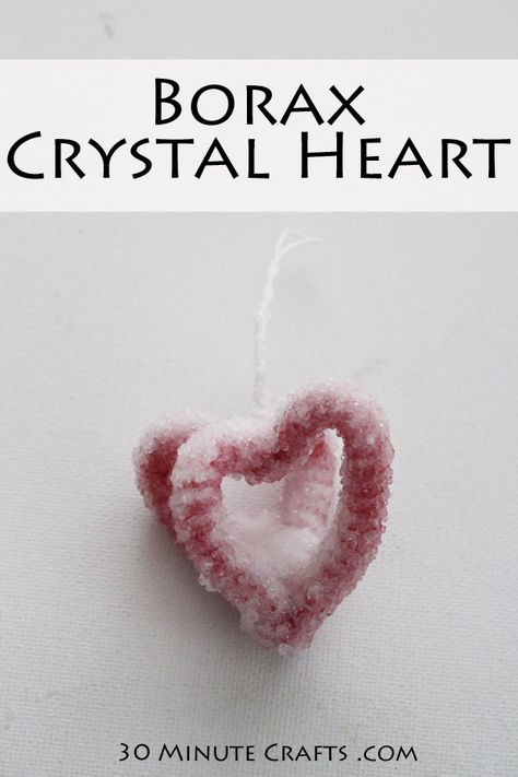 Diy Crystal Heart Easy To Make Using Borax From The Grocery Store