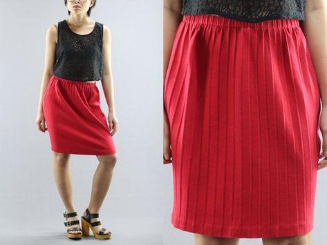 5ff878c8b404 Moda Int'l Elastic High Waist Pencil Ribbed Cotton Knit Red Mini Skirt  Women's Size Small 90's Vinta