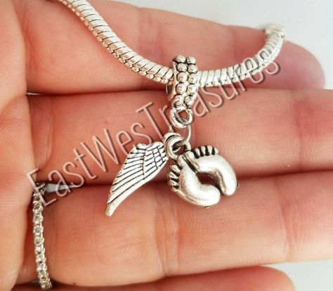 Angel Wings Heaven Protection Remembrance Charm for European Slide Bracelets