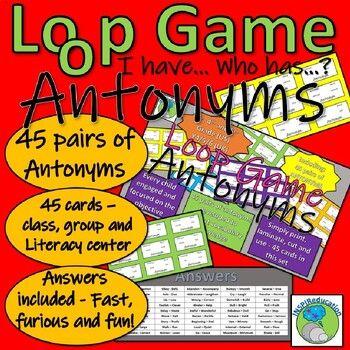 Antonyms Loop Game 45 Pairs Of Words By Inspireducation Teachers Pay Teachers In 2020 Antonyms Word Cards Words