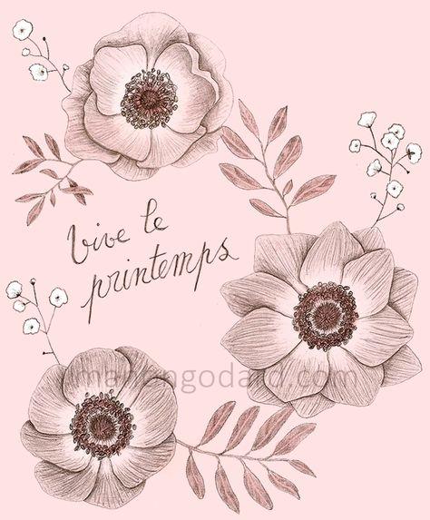 Illustration Vive Le Printemps Dessin De Fleurs Au Crayon A