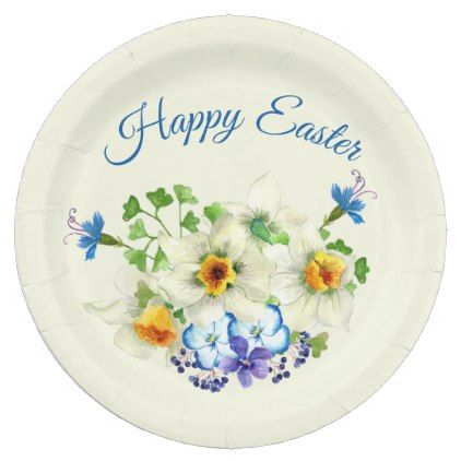 Happy Easter With Spring Bouquet Holiday Paper Plate Zazzle Com