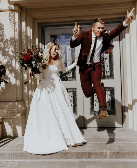 modest wedding dress with long sleeves from alta moda. photo by blake hogge #weddingdress