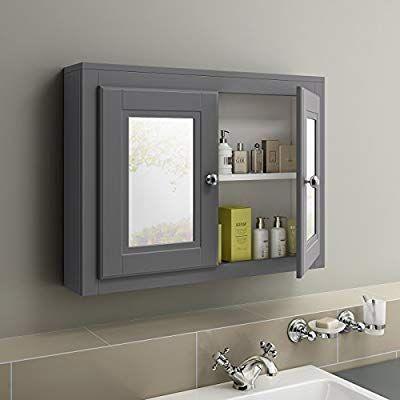 600 X 800 Traditional Grey Wall Hung Double Door Bathroom Mirror Cabinet Ibathuk Amazon Bathroom Cabinets With Lights Mirror Cabinets Bathroom Mirror Cabinet