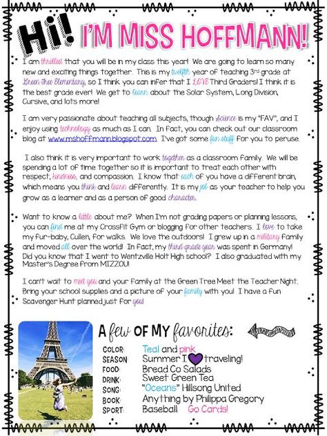 3 Teacher Chicks: Welcome Letter to Students and Parents: …