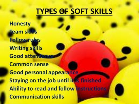 TYPES OF SOFT SKILLS Honesty Team skills Follow rules Writing - soft skills