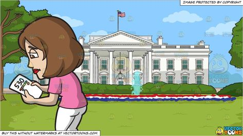 A Woman With A Bad Credit Score and The White House Background