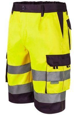 Pantalón De Trabajo Corto O Bermuda Velilla Fabricado En 80 Poliéster Y 20 Algodón Bicolor Amarillo Y Azul Indicado Para Vestir Cómo Swimwear Trunks Fashion