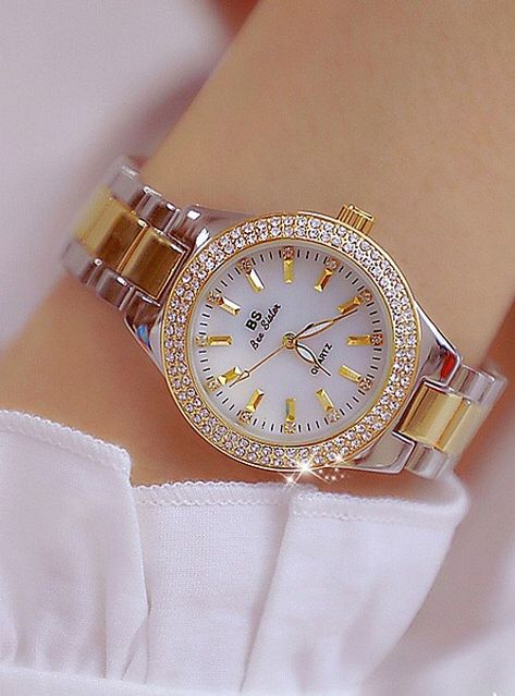 Women's Wrist Watch Diamond Watch Gold Watch Japanese Quartz Stainless Steel Gold 30 m Creative New Design Punk Analog Ladies Luxury Fashion – Gold Silver Gold / Silver / White Two Years Battery Life 2019 – Rs.