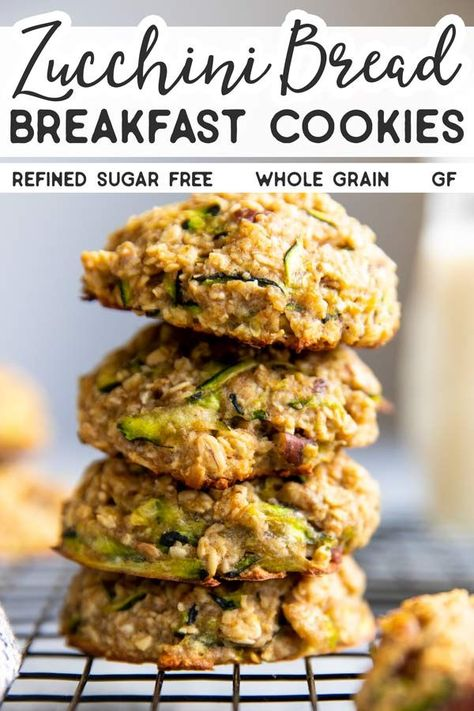 Whip up a batch of these Zucchini Bread Breakfast Cookies to tuck into lunch box. Whip up a batch of these Zucchini Bread Breakfast Cookies to tuck into lunch boxes or for a quick and healthy breakfast on the go. Zucchini Breakfast, Healthy Breakfast On The Go, Healthy Breakfast Recipes, Healthy Baking, Healthy Snacks, Healthy Recipes, Healthy Zucchini Bread, Healthy Breakfast Cookies, Healthy Breakfast Breads