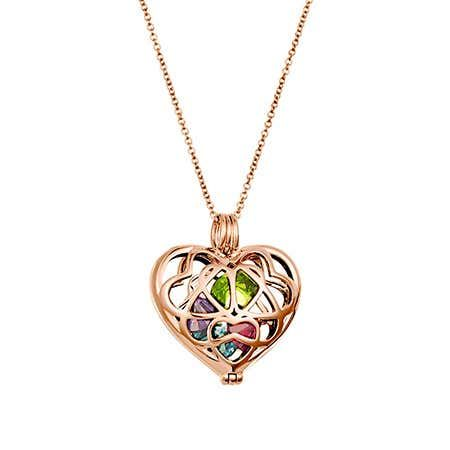 10K Gold Engravable Heart Cage Pendant with Personalized Birthstones by JEWLR