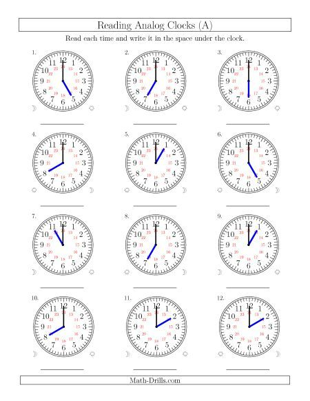Reading 24 Hour Time In One Hour Intervals 12 Clocks Clock