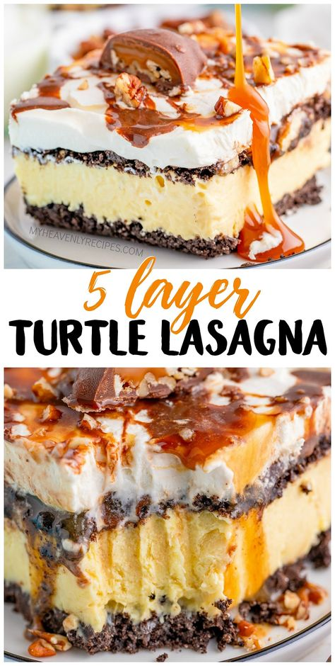 5 Layer Turtle Lasagna Dessert- no bake easy dessert to make for a party! Turtle like the chocolate caramels! So delicious. Chocolate Caramels, Chocolate Desserts, Chocolate Lasagna Dessert, Cold Desserts, Light Desserts, Desserts To Make, Summer Desserts, Delicious Desserts, Dessert Cake Recipes