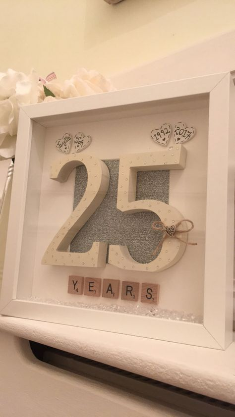 Personalised 25th Wedding Anniversary Scrabble Art Picture Small