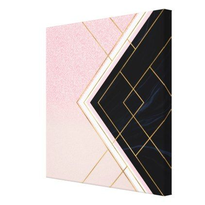 Modern Geometric Pink Gold Strokes Design Canvas Print Zazzle Com In 2020 Geometric Art Diy White Canvas Art Modern Geometric Art