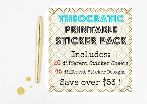 Theocratic Printable Sticker Pack Huge Bundle by