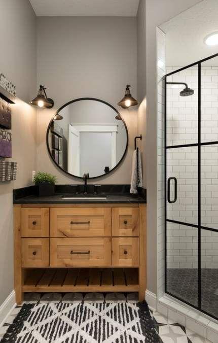 Bathroom Gray Countertop Wood Cabinets 65 Ideas Bathroom Wood