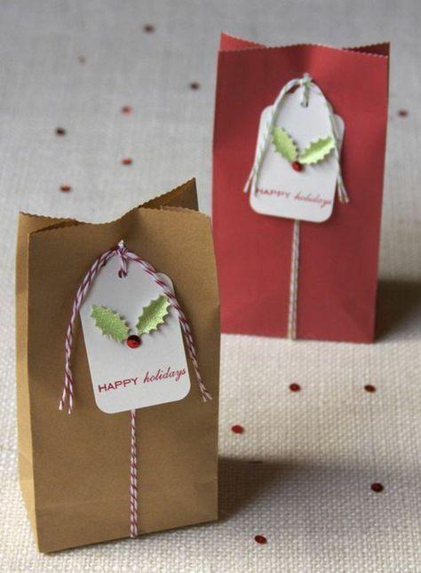 Décorer Un Petit Sachet Kraft   Idées Originales Pour Un Sac Cadeaux    Archzine.fr