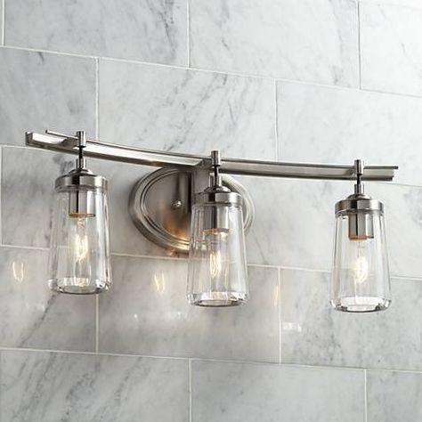 poleis 24 wide brushed nickel 3 light bath vanity light 9g439 rh pinterest com industrial farmhouse bathroom vanity lights