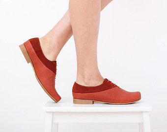 0fd357d3de Womens red oxford shoes, leather flats, handmade red and orange ...