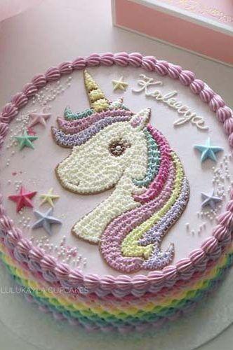 Pastel De Unicornio Cuadrado