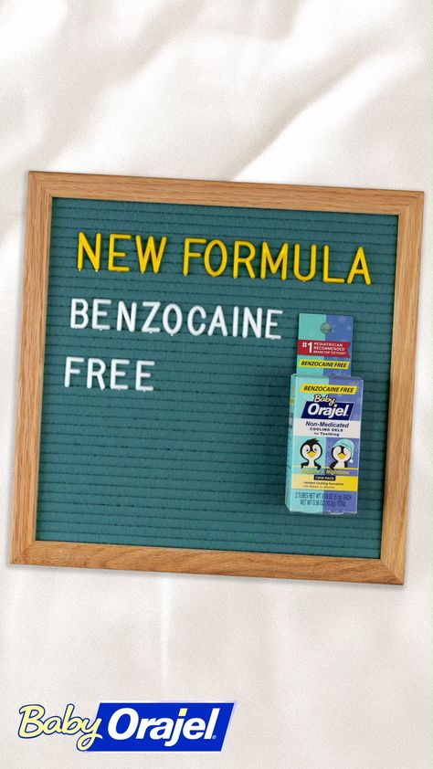Baby Orajel's new benzocaine-free formula instantly cools your little one's gums, taking them from teething to cheesin'. At home or on the go try the Daytime formula, and for bedtime try the nighttime formula with chamomile. Both are free of artificial colors, menthol, sugar, parabens, belladonna, sodium lauryl sulfate, gluten, and dairy.