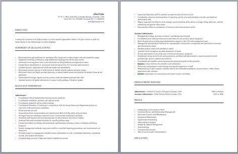 Business Administration Resume Administrative Resume Samples - drafting resume