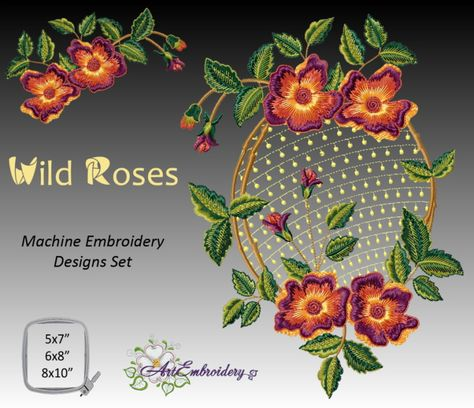 Floral Machine Embroidery Designs Set for hoop 8X10 and less Wild Roses Oval and Single Motifs