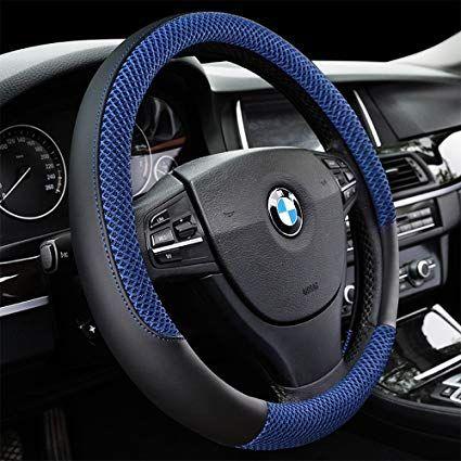 15/'/' 38cm Car Auto SUV Steering Wheel Cover Anti-slip Micro Fibre Leather Cover