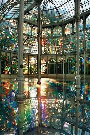 "The Crystal Palace, Madrid, Spain. The Palacio de Cristal (""Crystal Palace"") is a glass and metal structure located in Madrid's Buen Retiro Park. The Crystal Palace, Crystal Palace Madrid, Crystal Room, Crystal Castle, Glass Crystal, Oh The Places You'll Go, Places To Travel, Places To Visit, Vacation Places"
