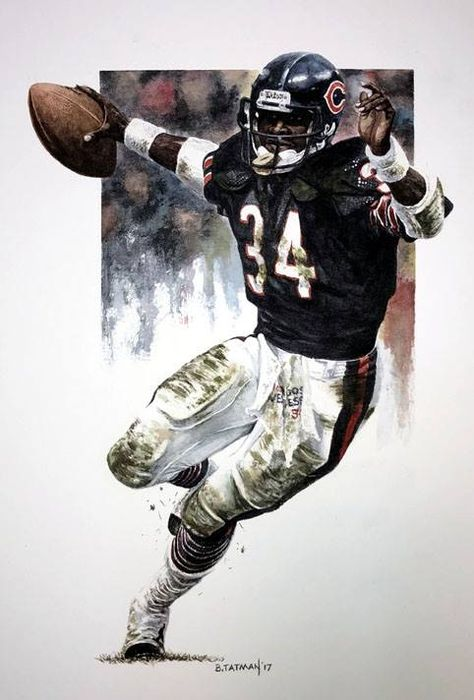 """Sweetness"" ( Walter Payton ) X watercolor Nfl Football Players, Bears Football, Football Art, Football Helmets, Football Rules, Oregon Football, School Football, Sport Football, Pittsburgh Steelers"